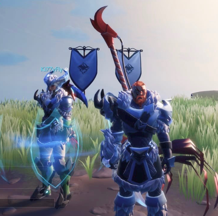 Two Dauntless characters standing together