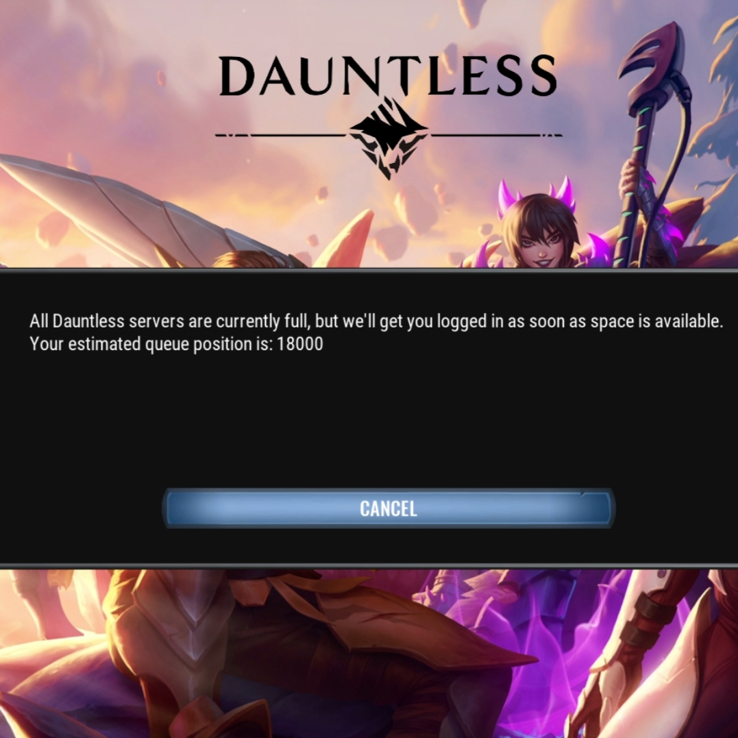 Dauntless server loading screenshot showing position in the queue